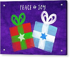 Peace And Joy- Hanukkah And Christmas Card By Linda Woods Acrylic Print by Linda Woods