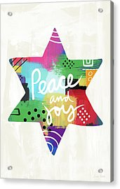 Peace And Joy Star-art By Linda Woods Acrylic Print by Linda Woods