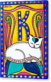Peace And Love - Cat Art By Dora Hathazi Mendes Acrylic Print by Dora Hathazi Mendes