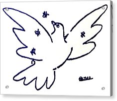Peace Dove Serigraph In Blue As A Tribute To Pablo Picasso's Lithograph Of Love Bird With Flowers Acrylic Print