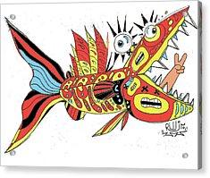 Peace Funky Folk Fish Acrylic Print by Robert Wolverton Jr
