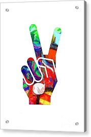 Acrylic Print featuring the digital art Peace Hippy Paint Hand Sign by Edward Fielding