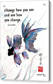 Peace In Change With Zen Proverb Acrylic Print
