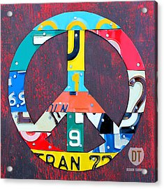 Peace License Plate Art Acrylic Print by Design Turnpike