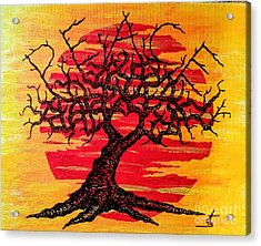 Acrylic Print featuring the drawing Peace Love Tree by Aaron Bombalicki
