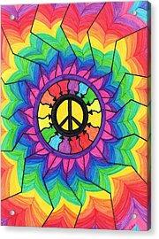 Peace Mandala Acrylic Print by Cheryl Fox