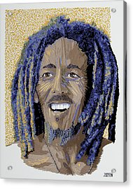 Peace Portrait One Bob Marley Acrylic Print by Barbara Lugge