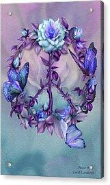 Peace Rose - Blue Acrylic Print by Carol Cavalaris