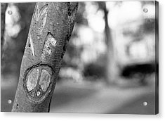 Peace Sign Carving, 1975 Acrylic Print