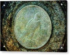Peace Silver Dollar Reverse Acrylic Print by Randy Steele
