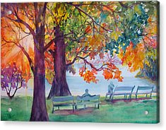 Acrylic Print featuring the painting Peaceful Chat by AnnE Dentler