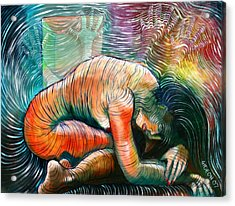 Peaceful Flow - Reclining Nude Acrylic Print by Gideon Cohn