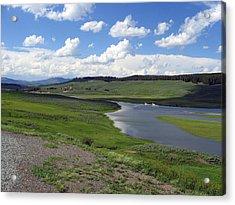 Peaceful Lake At Yellowstone Acrylic Print by Diane Wallace