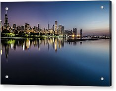 Peaceful Summer Dawn Scene On Chicago's Lakefront Acrylic Print