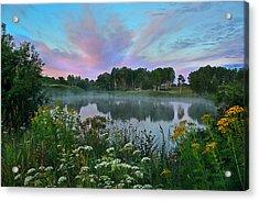 Peaceful Sunrise At Lake. Altai Acrylic Print