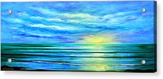 Peacefully Blue - Panoramic Sunset Acrylic Print