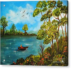 Peacful Boating Acrylic Print by Tina Haeger