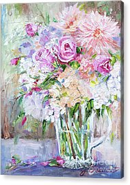 Acrylic Print featuring the painting Peach And Pink Bouquet by Jennifer Beaudet