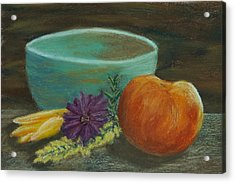 Peach And Pottery Acrylic Print by Cheryl Albert