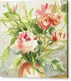 Peach And Yellow Carnations And Roses Acrylic Print