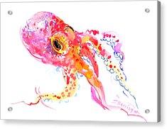 Peach Color Octopus Acrylic Print by Suren Nersisyan