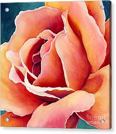 Acrylic Print featuring the painting Peach Rose by Hailey E Herrera