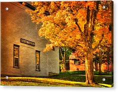 Peacham Town Hall - Vermont In Autumn Acrylic Print by Joann Vitali