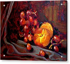 Peaches And Grapes Acrylic Print by Brian Simons