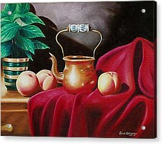 Acrylic Print featuring the painting Peaches And Pot by Gene Gregory