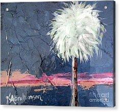 Peachy Horizons Palm Tree Acrylic Print