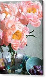 Peachy Peonies Acrylic Print