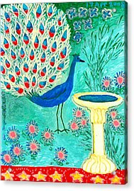 Peacock And Birdbath Acrylic Print by Sushila Burgess