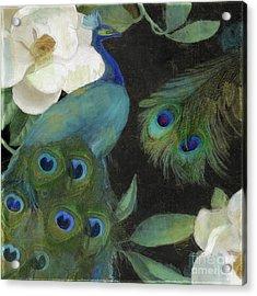 Peacock And Magnolia II Acrylic Print