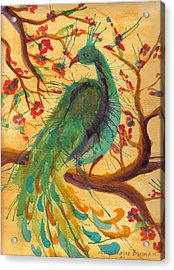 Acrylic Print featuring the painting Peacock C'hi by Angelique Bowman