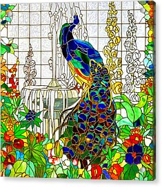 Peacock Stained Glass Acrylic Print