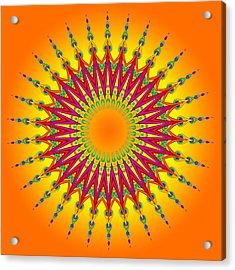 Peacock Sun Mandala Fractal Acrylic Print