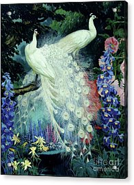 Peacocks And Hollyhocks Acrylic Print by Pg Reproductions
