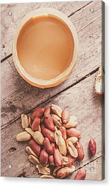 Peanut Butter Jar With Peanuts On Wooden Surface Acrylic Print