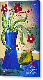 Pear And Red Flowers Acrylic Print by Lynda Cookson