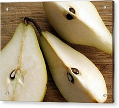 Acrylic Print featuring the digital art Pear Cut In Three by Jana Russon