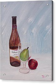 Pear In Glass Acrylic Print by Tony Rodriguez