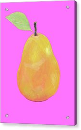 Pear Painting On Pink Background Acrylic Print