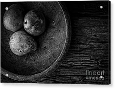Pear Still Life In Black And White Acrylic Print by Edward Fielding