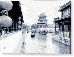 Pearl Stream River Blues - Zhujiajiao Near Shanghai Acrylic Print by Christine Till