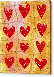 Pearly Hearts Valentine Acrylic Print by Carol Leigh