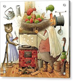 Pearman And Cat Acrylic Print by Kestutis Kasparavicius