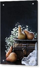 Acrylic Print featuring the photograph Pears And Baby's Breath by Stephanie Frey