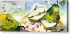 Pears And Bees  Acrylic Print by Ginette Callaway