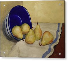 Acrylic Print featuring the painting Pears And Blue Bowl by Sandra Nardone