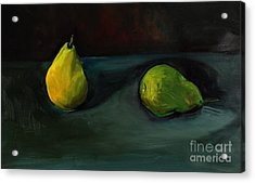 Acrylic Print featuring the painting Pears Apart by Daun Soden-Greene